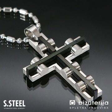 3D CROSS - Obesek Križ z verižico iz kirurškega jekla 45 x 35 mm C-114