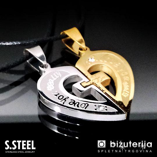 LOVE YOU REALLY - Zlat in srebrn obesek za zaljubljene P-100
