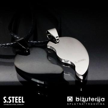 JIN JANG - Črn in srebrn obesek za pare iz kirurškega jekla P-105