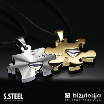 PUZZLE Zlat in srebrn obesek za zaljubljene iz kirurškega jekla P-109a