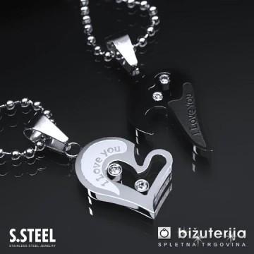 MOJA ZLATA LJUBEZEN Črn in srebrn obesek za pare v obliki srca iz kirurškega jekla P-116