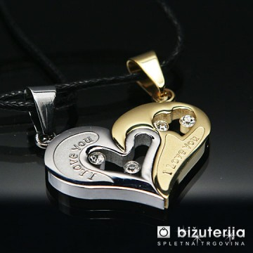 MOJA ZLATA LJUBEZEN Zlat in srebrn obesek za pare v obliki srca iz kirurškega jekla P-119