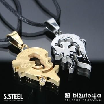 4 LEAF CLOVER Zlat in srebrn srček z štiriperesno deteljico - Ujemajoča obeska za pare iz kirurškega jekla P-244