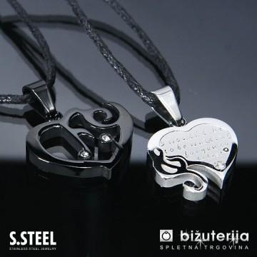 MELODY BLACK Srce z violinskim ključem - Črn in srebrn obesek za zaljubljene iz kirurškega jekla P-249