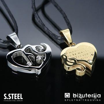 MELODY GOLD Srce z violinskim ključem - Zlat in srebrn obesek za zaljubljene iz kirurškega jekla P-250
