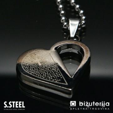 BLACK HEART Obesek iz kirurškega jekla P-263