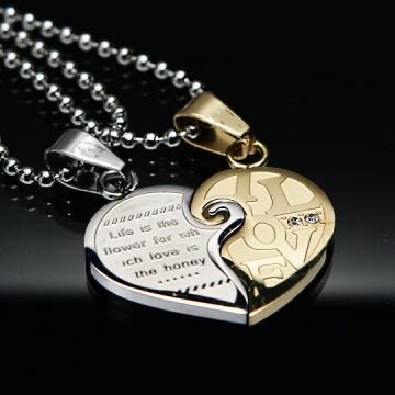 LOVE FOREVER Zlat in srebrn obesek za pare v obliki srca iz kirurškega jekla P-268