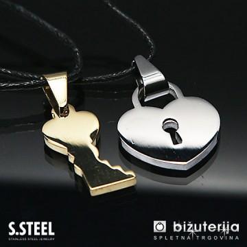 LOCK YOUR LOVE  Srebrn srček ključavnica z zlatim ključem - Obeska iz kirurškega jekla P-269