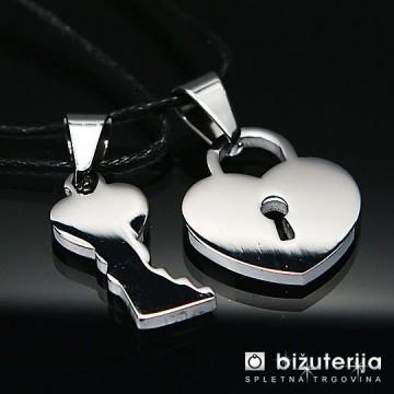 LOCK YOUR LOVE  Srebrn srček ključavnica z srebrnim ključem - Obeska iz kirurškega jekla P-270