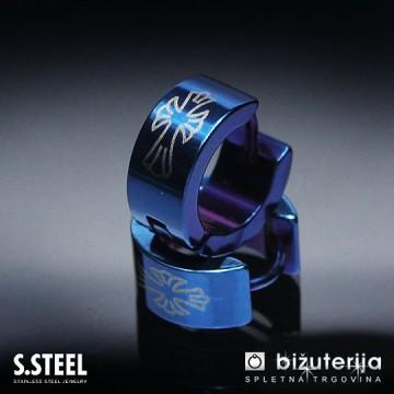DEAN BLUE II Modri moški uhani iz jekla U-132