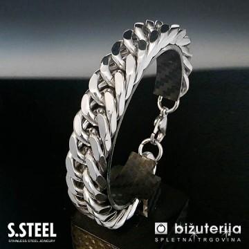 VIPER Masivna široka srebrna moška zapestnica  15 x 220 mm  M-606