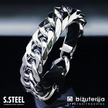 PYTHON Masivna široka srebrna moška zapestnica  20 x 225 mm M-610