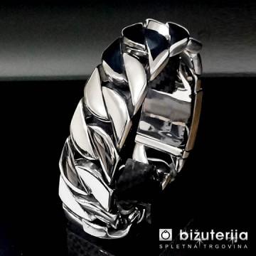 XXXL Masivna široka srebrna moška zapestnica  26 x 235 mm M-617